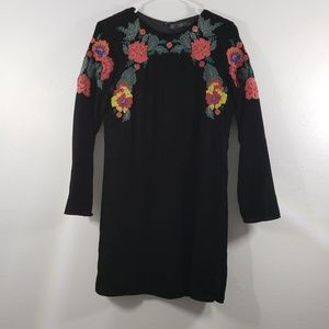 Zara Trafaluc Embroidered Velvet Midi Dress